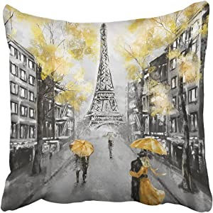 Emvency Throw Pillow Cover Square 20x20 Inches Oil Painting Paris European City Landscape France Eiffel Tower Black White and Yellow Modern Couple Polyester Decor Hidden Zipper Print On Pillowcases