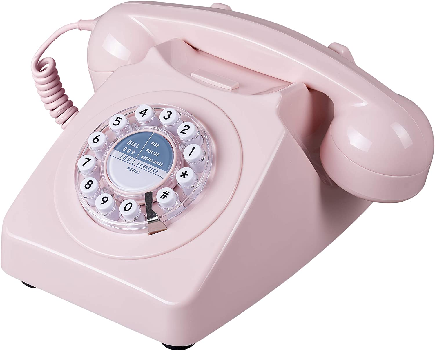 Wild Wood 746 Rotary Design Retro Landline Telephone Dusty Pink