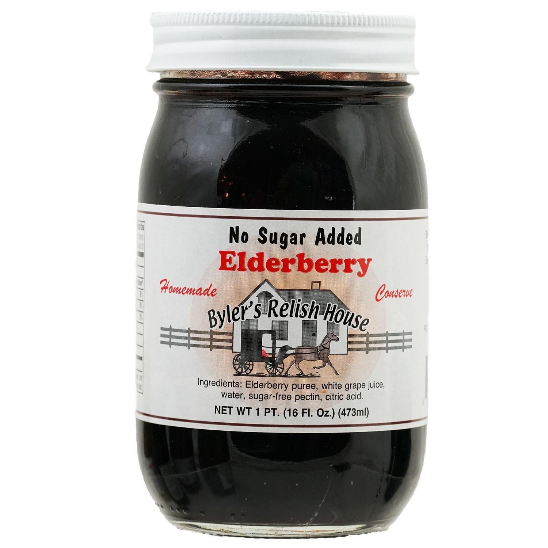 Byler's Relish House Homemade No Sugar Added Elderberry Fruit Spread 16 oz.