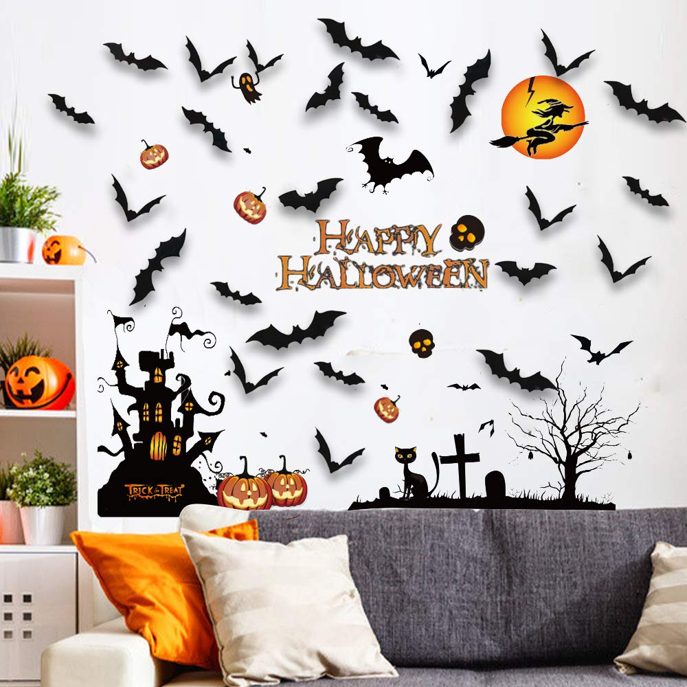 A Halloween Window Clings for Glass Windows Decor with 28PCS Larger 3D Black Spooky Scary Bats Wall Stickers Decals Halloween Decor Indoor Party Decorations Supplies for Kids