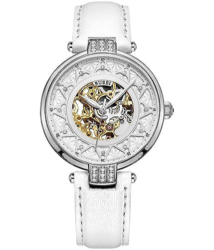 BUREI Damen Mechanische Automatik Skelettuhr Uhr mit Kratzresistenter Saphirglas und Weißem Lederband