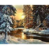 Paint by Numbers-DIY Digital Canvas Oil Painting Adults Kids Paint by Number Kits Home Decorations- Cabin in Forest 16…