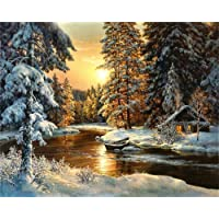 Paint by Numbers-DIY Digital Canvas Oil Painting Adults Kids Paint by Number Kits Home Decorations- Cabin in Forest 16 * 20 inch