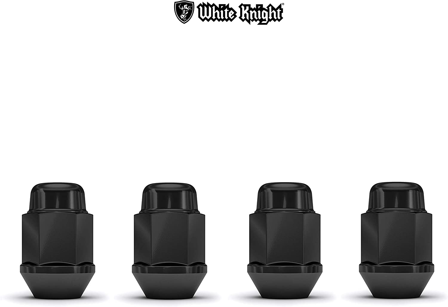 White Knight 1707SBK-4 Black M12x1.50 Bulge Acorn Lug Nut, 4 Pack