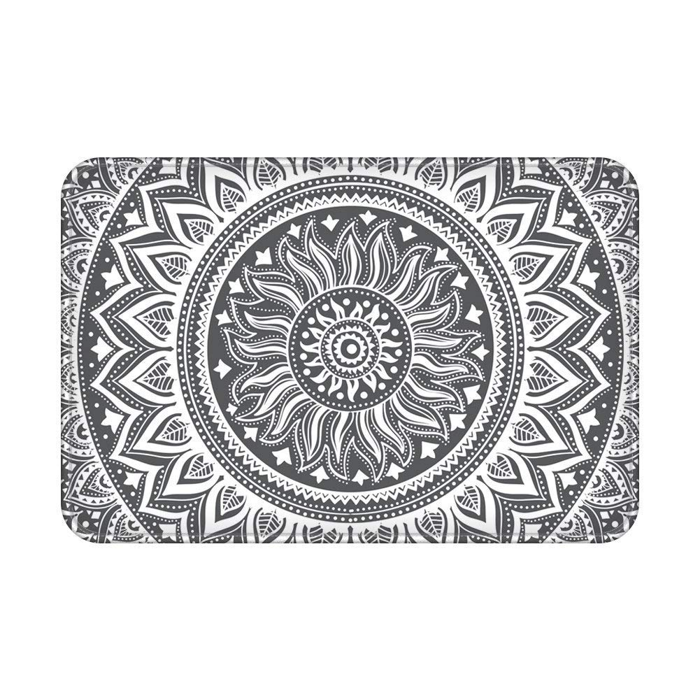 LEEVAN Area Rug Modern No-Shedding Non-Slip Machine Washable Rectangle Living Room Bedroom Study Soft Carpet Floor Mat Home Decor (3 x 4 ft, Grey Mandala)