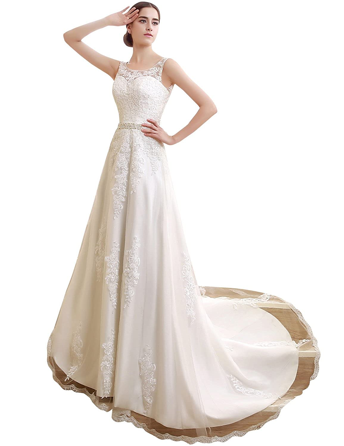 Sarahbridal Women's A-line Bridal Ball Gown Sheer Neck Satin Lace Backless Brides Wedding Dresses with Straps SSQS06