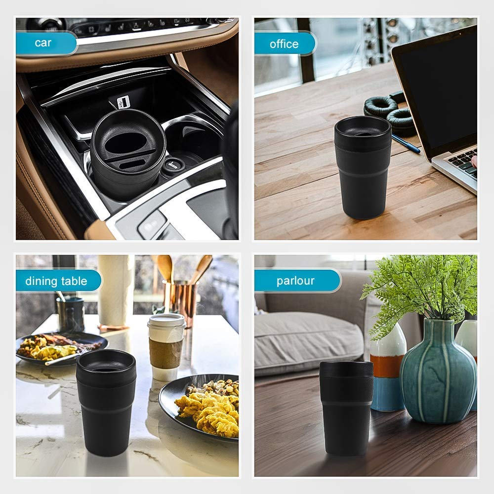 US haimeimaoyi HM Black Cup Holder Trash Bin Multi-Function Detachable Car Garbage Trash Can with Insert Card Slot Coin Collecting Tissue Storage Box