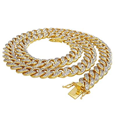 c4aa80e115e0f Amazon.com: NIV'S BLING - 18k Yellow Gold-Plated Cubic Zirconia Cuban Link  Chain 24 Inches: Jewelry
