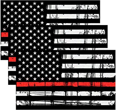 Firefighter Support Decal Thin Red Line Black Decal American Flag Sticker// Decal Support of Firefighters and EMTs