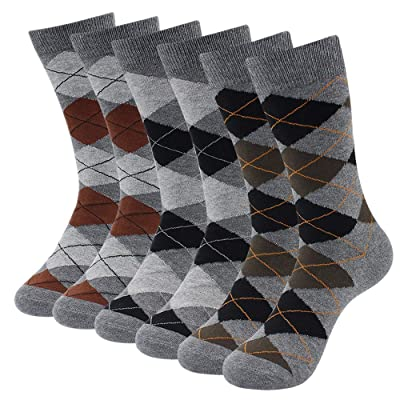 3-6 Pack Men's Cotton Socks Colorful Patterned Dress Socks Argyle Striped Dark Color Classic Style at Amazon Men's Clothing store
