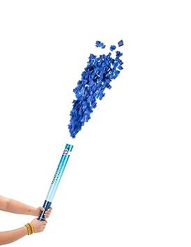 Cañón de confetis azules 60 cm - Única