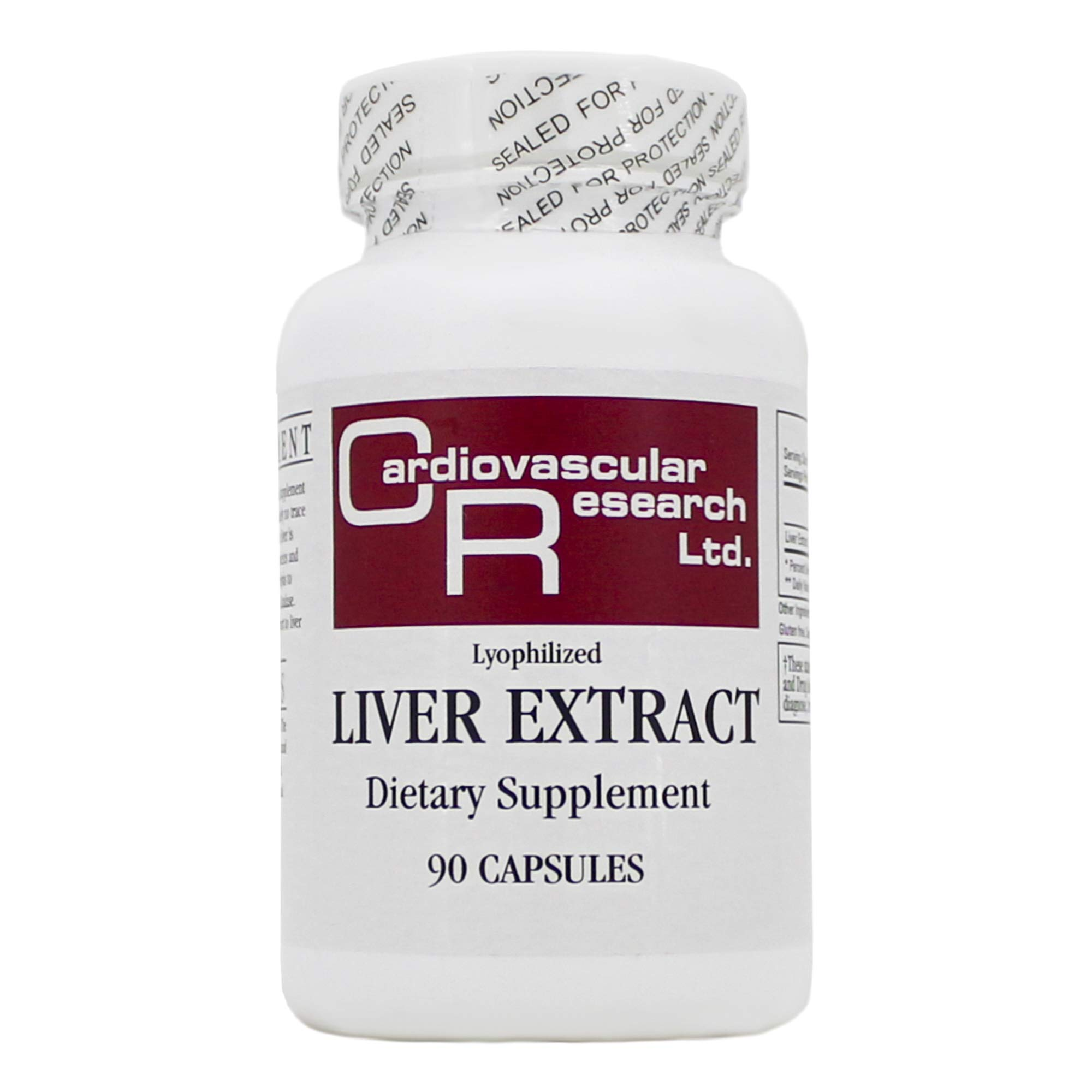 Liver Extract (Lyophilized 550mg) 90 Capsules - Pack of 3 by ECOLOGICAL FORMULAS - CARDIOVASCULAR RESEARCH