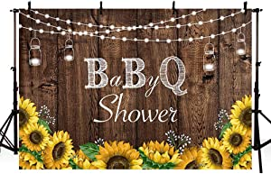 MEHOFOTO 7x5ft Baby-Q Photography Backdrops Rustic Wood Co-ed BBQ Baby Shower String Lights Party Yellow Sunflowers Mason Jar Background Banner for Picture Photo Studio Decoration