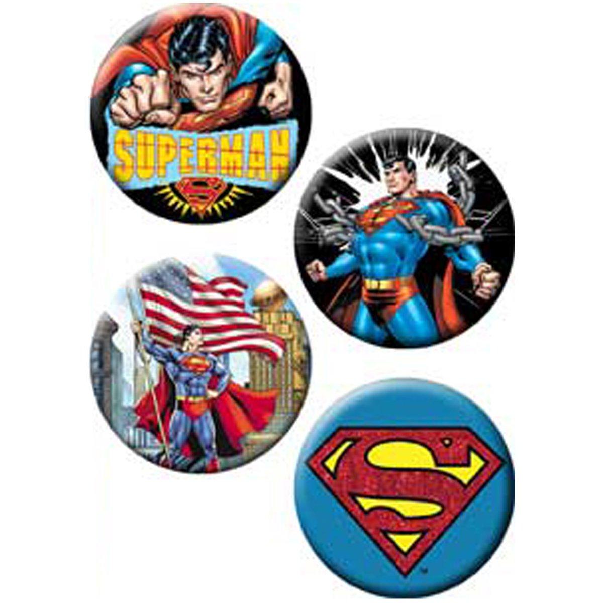 Licenses Products DC Comics Superman Assorted Artworks 1.25' Button Set, 4-Piece C&D Visionary Inc. B-DC-0007-S
