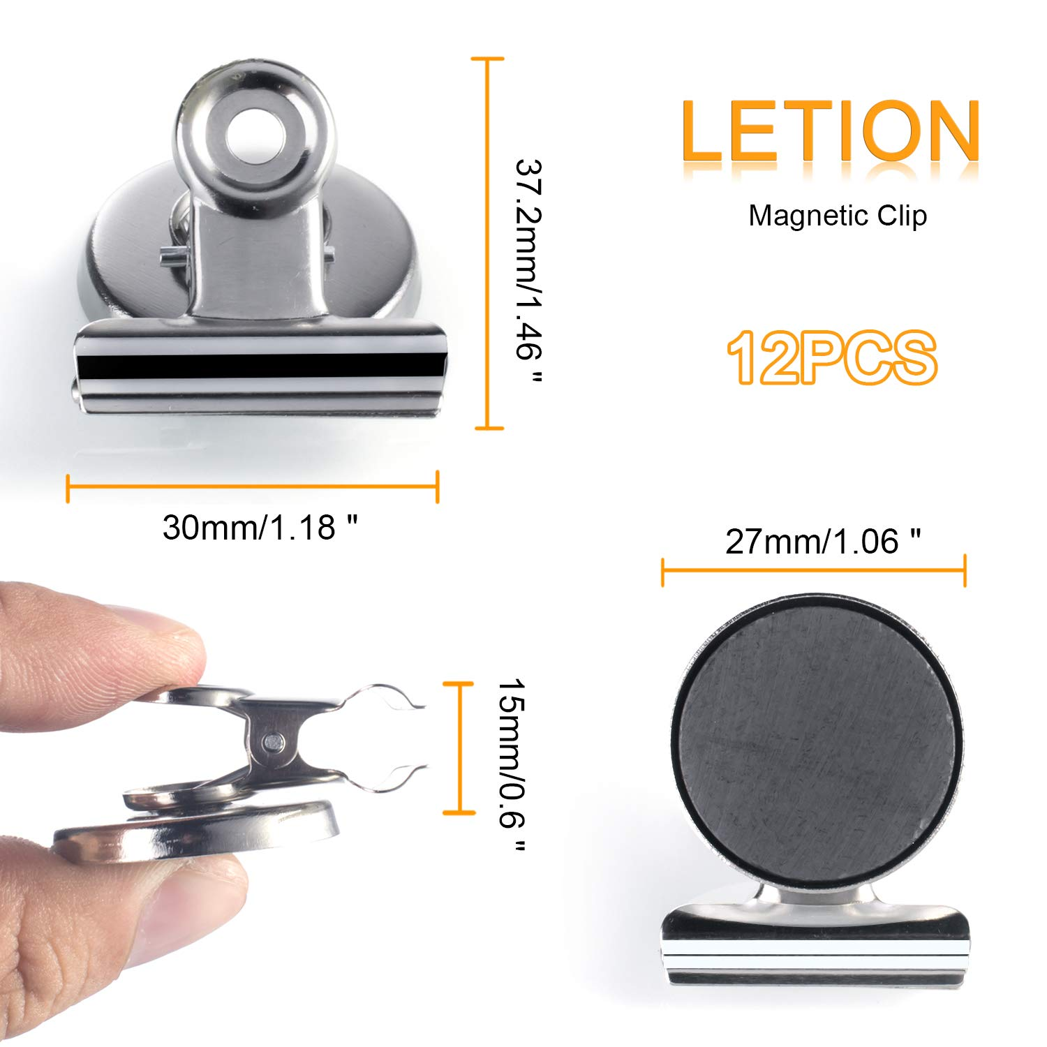 LETION Refrigerator Magnetic Clip, High Magnetic Scratch-proof Fridge Magnet 1.5 inch for Note Photo Receipt Detailed List display on Home& Office& Teaching (12Pcs)
