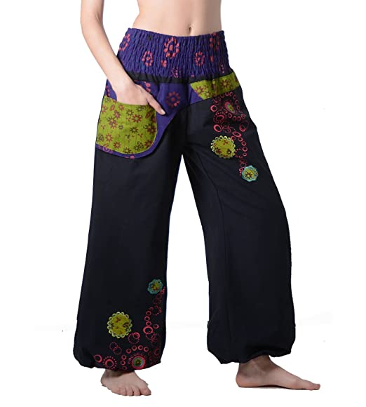243123a48d3d Wicked Dragon Embroidered Long Baggy Trousers (L XL) Black  Amazon.co.uk   Clothing