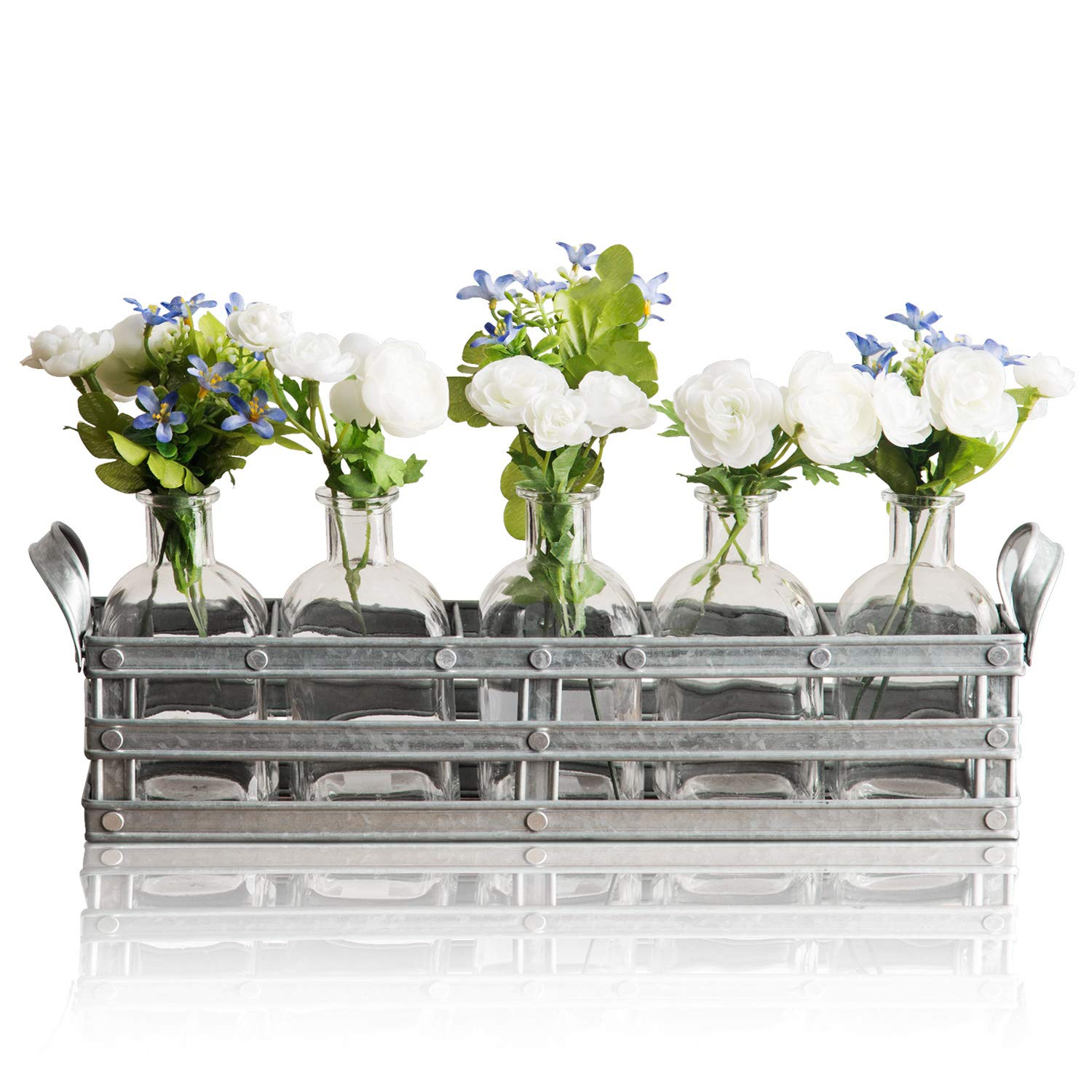 225 & Bud Flower Vases with Galvanized Holder - 5-Piece Set of Clear Glass Bottles for Home Decor Window-Sill Display Decorative Storage Party or Wedding ...