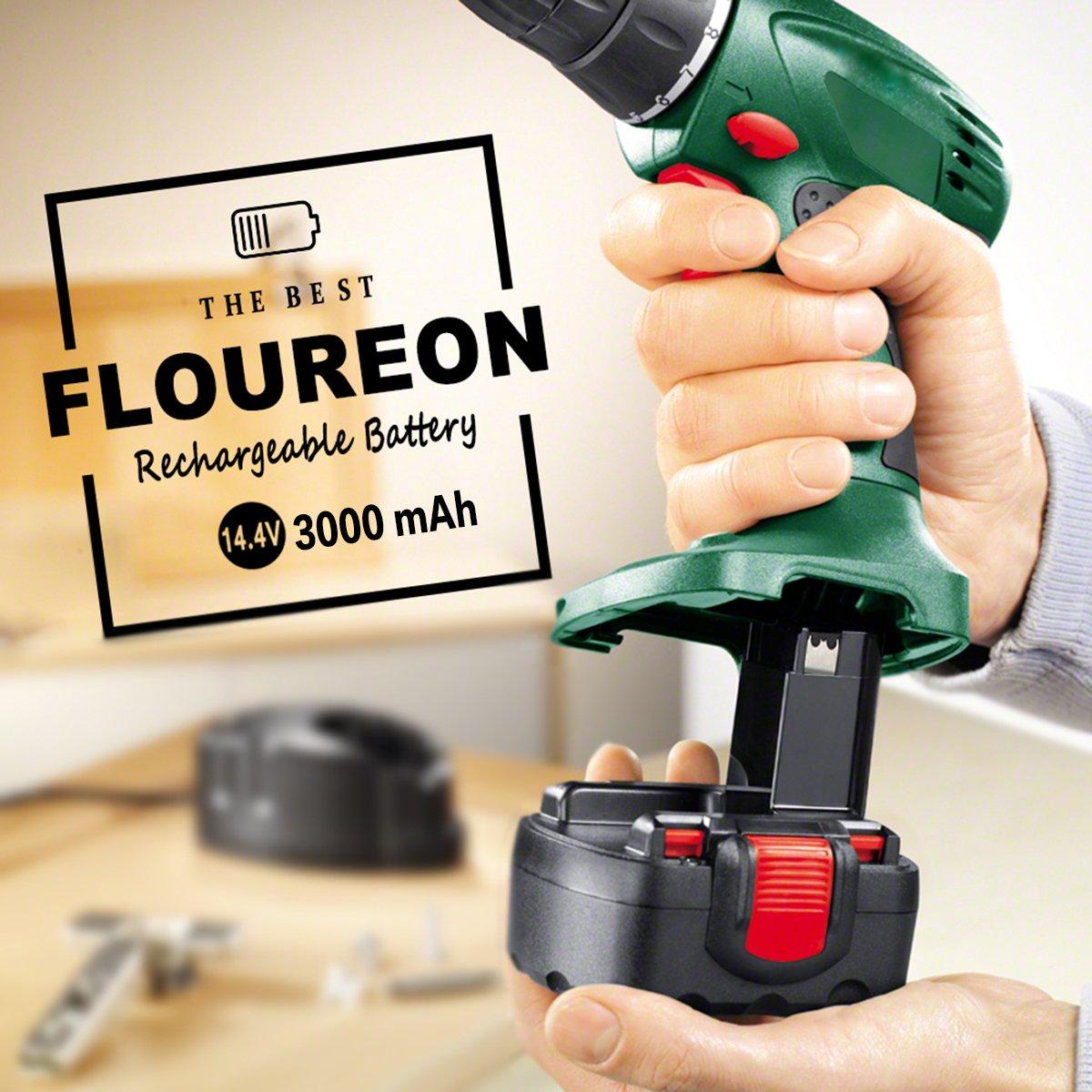 FLOUREON 14.4V 3000mAh Ni-MH Replacement Battery for Bosch 13614 15614 1661 22614 32614 3660K 52314 AHS 41 ART 26 PSR 14.4 PSR Bosch BAT038 BAT040 BAT041 BAT159 2607335275 2607335533 2607335264