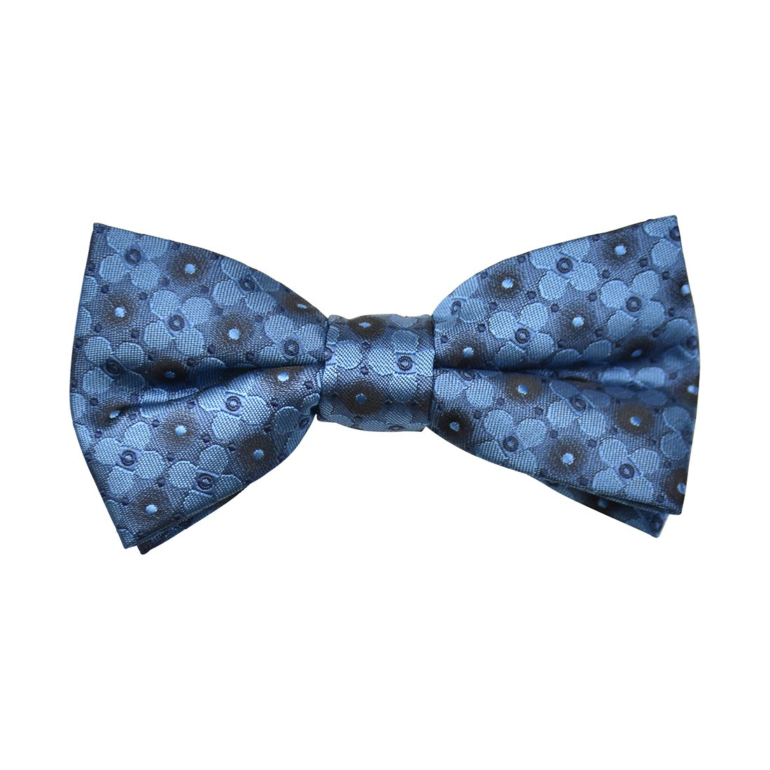 Floral Satin Clip-On Bow Tie -Navy