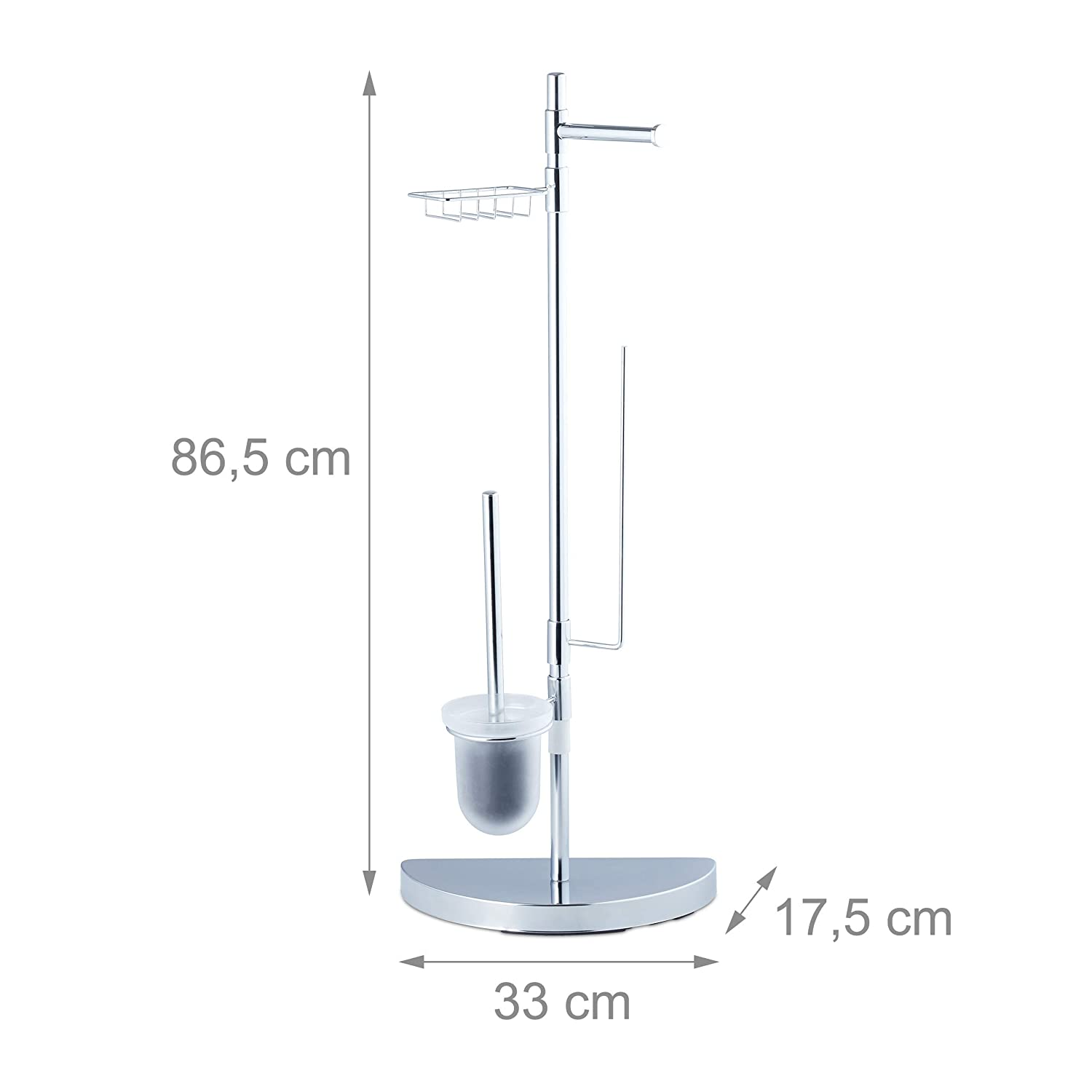 Toilet Roll Holder 360/° Swivel Parts Relaxdays Universal Accessory Set Brush with Container Chrome 86 cm Tall