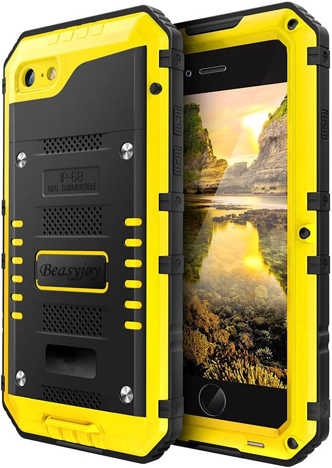 Beasyjoy iPhone 8 Case iPhone 7 SE Metal Case Waterproof Heavy Duty with Screen Full Body Protective Three Layers Shockproof Drop Proof Durable Military Grade Defender,Yellow