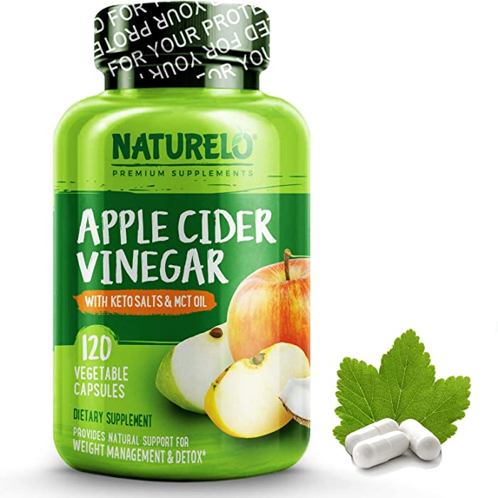NATURELO Apple Cider Vinegar Capsules - Keto BHB Salts & MCT Oil Powder for Detox, Cleanse and Weight Management - Best Natural ACV with Mother Supplement for Men & Women - 120 Vegan Pills