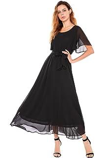 ACEVOG Women Casual Short Flutter Sleeve O Neck Flare Flowy Chiffon Long Formal Maxi Dress