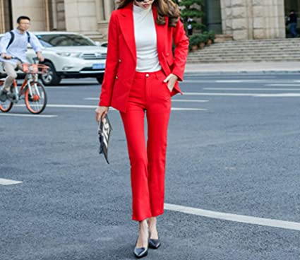 7311ba5f3 Amazon.com: Women Two Piece Sets red Formal Pant Suit Office Lady ...
