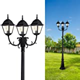 Brimfield 3-Head Aged Iron Outdoor Post Light 88.5 in Exterior Décor Cottage