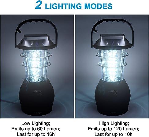 Lumi/ère durgence pour Camping p/êche AGPtek 36 LEDs Lampe rechargeable Lanterne solaire USB Port 5 Modes de Rechargement avec Dynamo /à manivelle Panneau solaire Adaptateur Voiture et Secteur