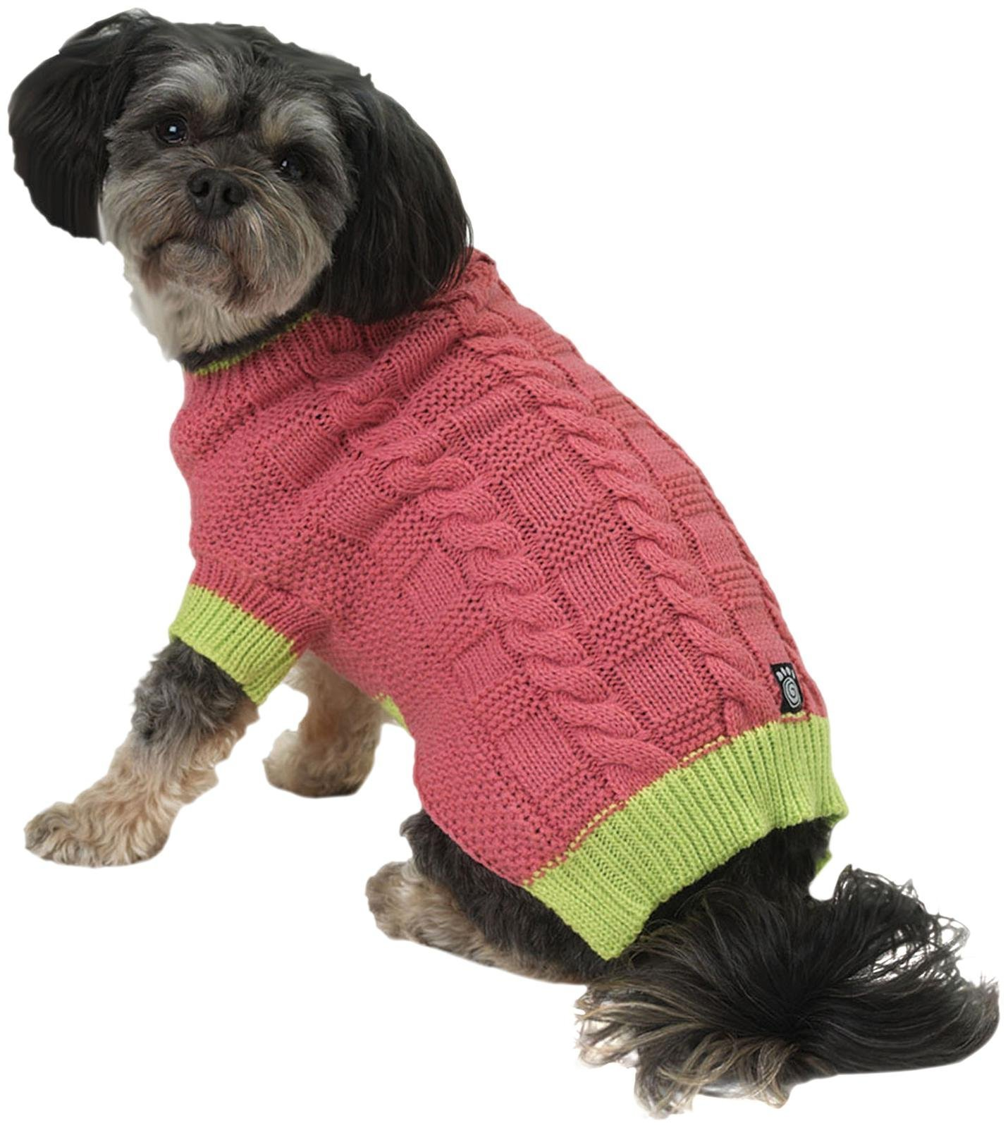 Petrageous Designs Cody'S Chunky Cable Sweater - Pink/Lime - X-Small