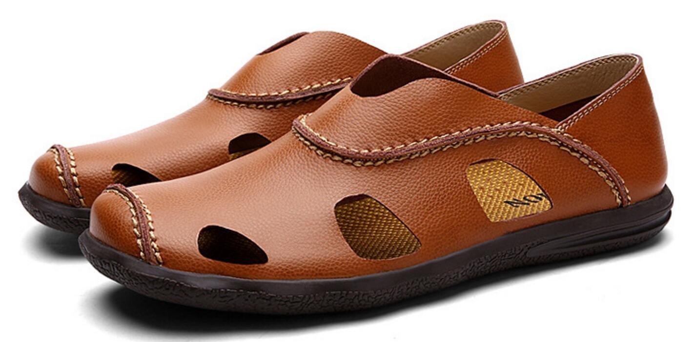 Sommer Herren Casual Sandalen Leder Baotou Beach Casual Herren Schuhe Handgenähte Schuhe Outdoor Sports Sandalen Braun d9a310
