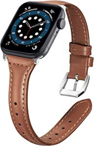 Liwin Leather Band Compatible with Apple Watch SE Series 6 Band 44mm 42mm 40mm 38mm, Genuine Slim Leather Replacement Wristbands Bracelet Classic Strap for iWatch SE 6/5/4/3/2/1(Brown, 38/40mm)