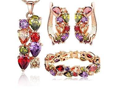 4179727a4936 Amazon.com  Aretes Pulseras Cadena Collares De Mujer Nueva Coleccion ...