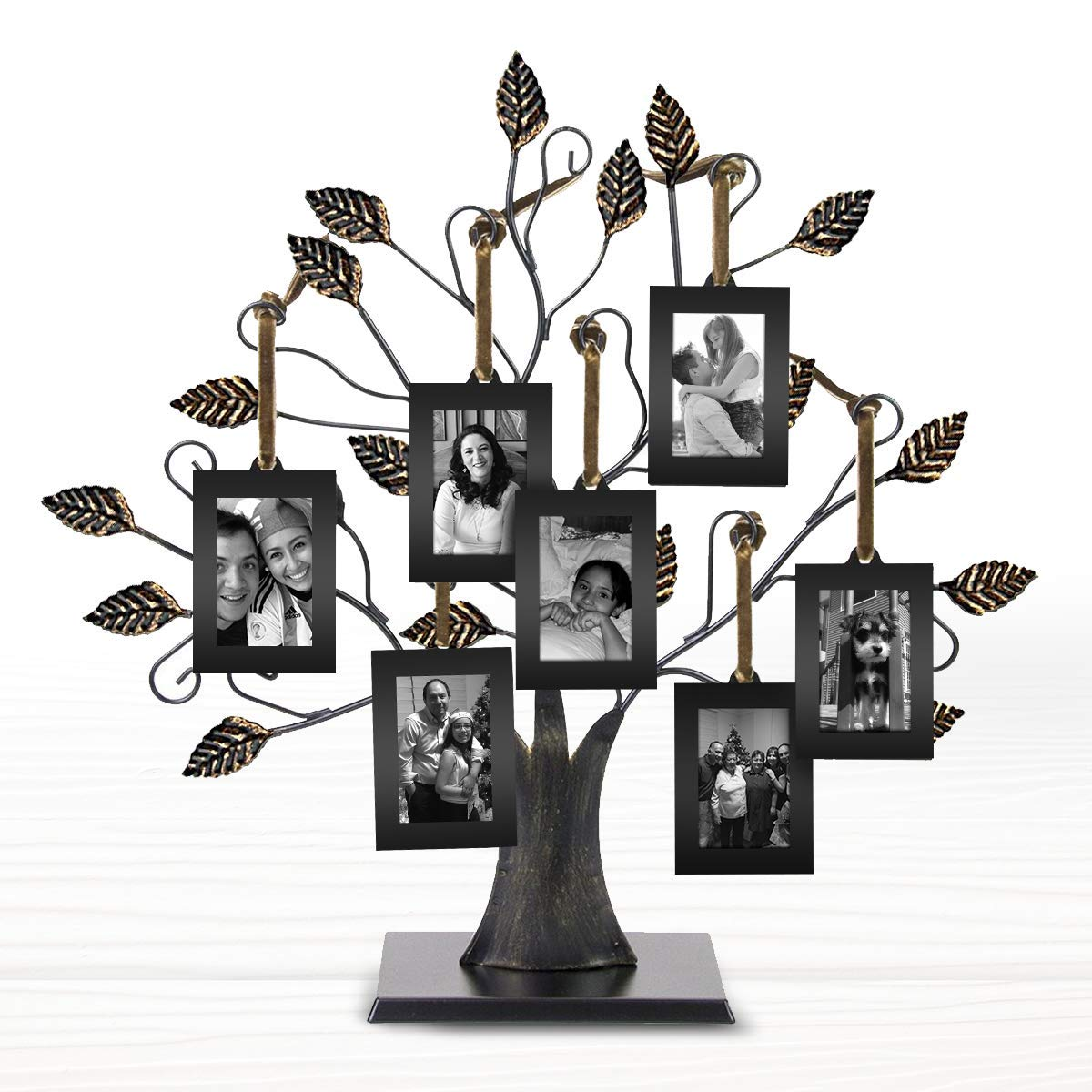 Klikel 13'' Medium Bronze Family Tree of Life Centerpiece Display Stand With 6 Hanging Photo Picture Frames by Klikel