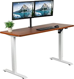VIVO Electric 60 x 24 inch Stand Up Desk, Dark Walnut Solid One-Piece Table Top, White Frame, Height Adjustable Standing Workstation with Simple 2 Button Controller (DESK-KIT-W06D)