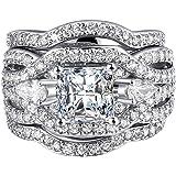 FENDINA Women 3 PCS Vintage 18K White Gold Plated Wedding Engagement Rings Bridal Sets Princess Cut White CZ Promise Rings for Couples