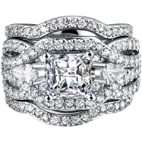 FENDINA Women 3 PCS Vintage 18K White Gold Plated Wedding Engagement Rings Bridal Sets Princess Cut White CZ Promise Rings for Couples
