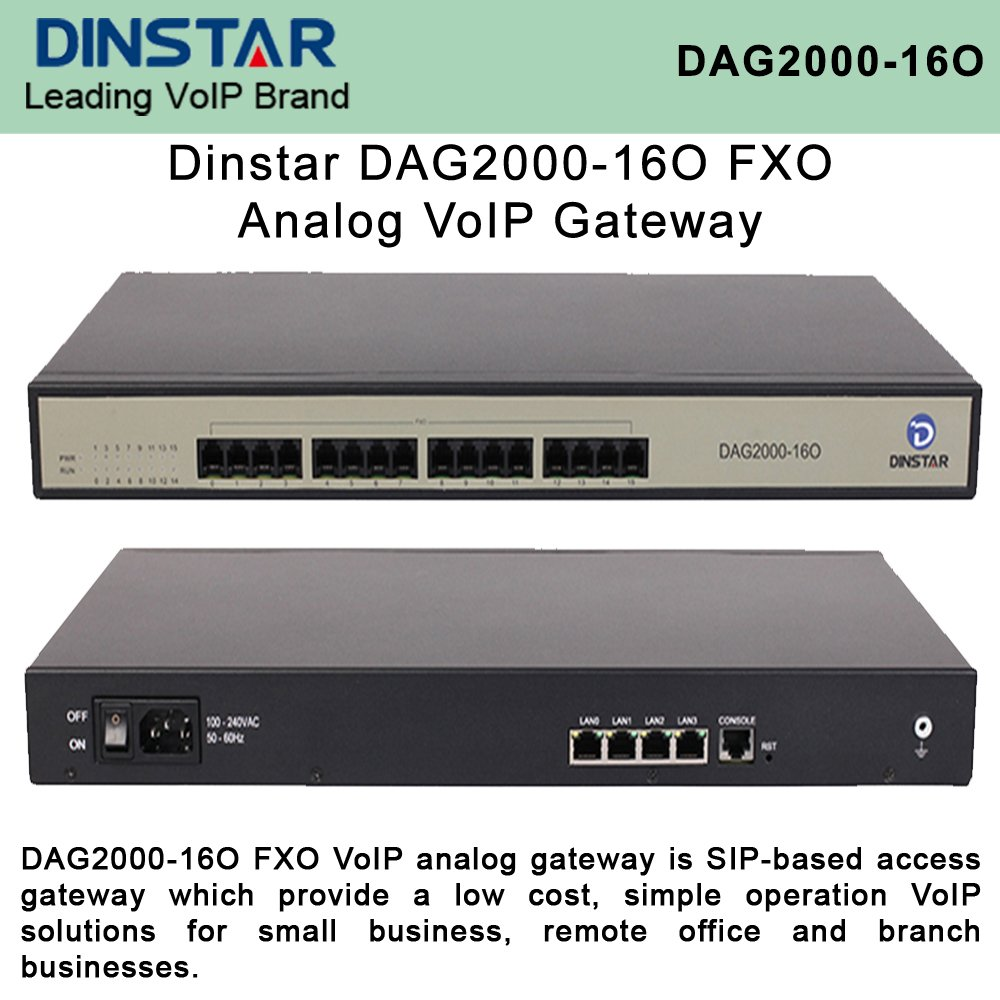 Dinstar DAG2000-16O FXO Analog VoIP Gateway Simple Operate