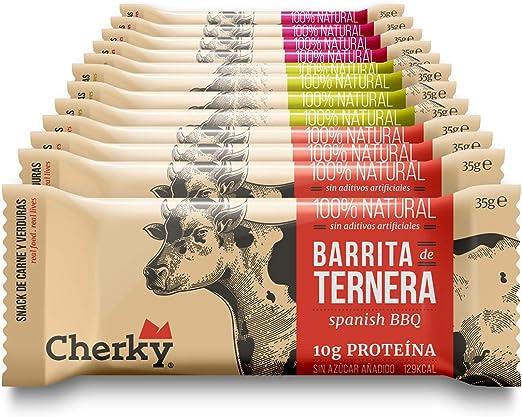 Cherky, Barritas De Ternera Y Cerdo Ibérico Es De 35G Snack Salado Saludable Sin Azúcar Y Sin Aditivos 540 G, Selección, 12 Unidades