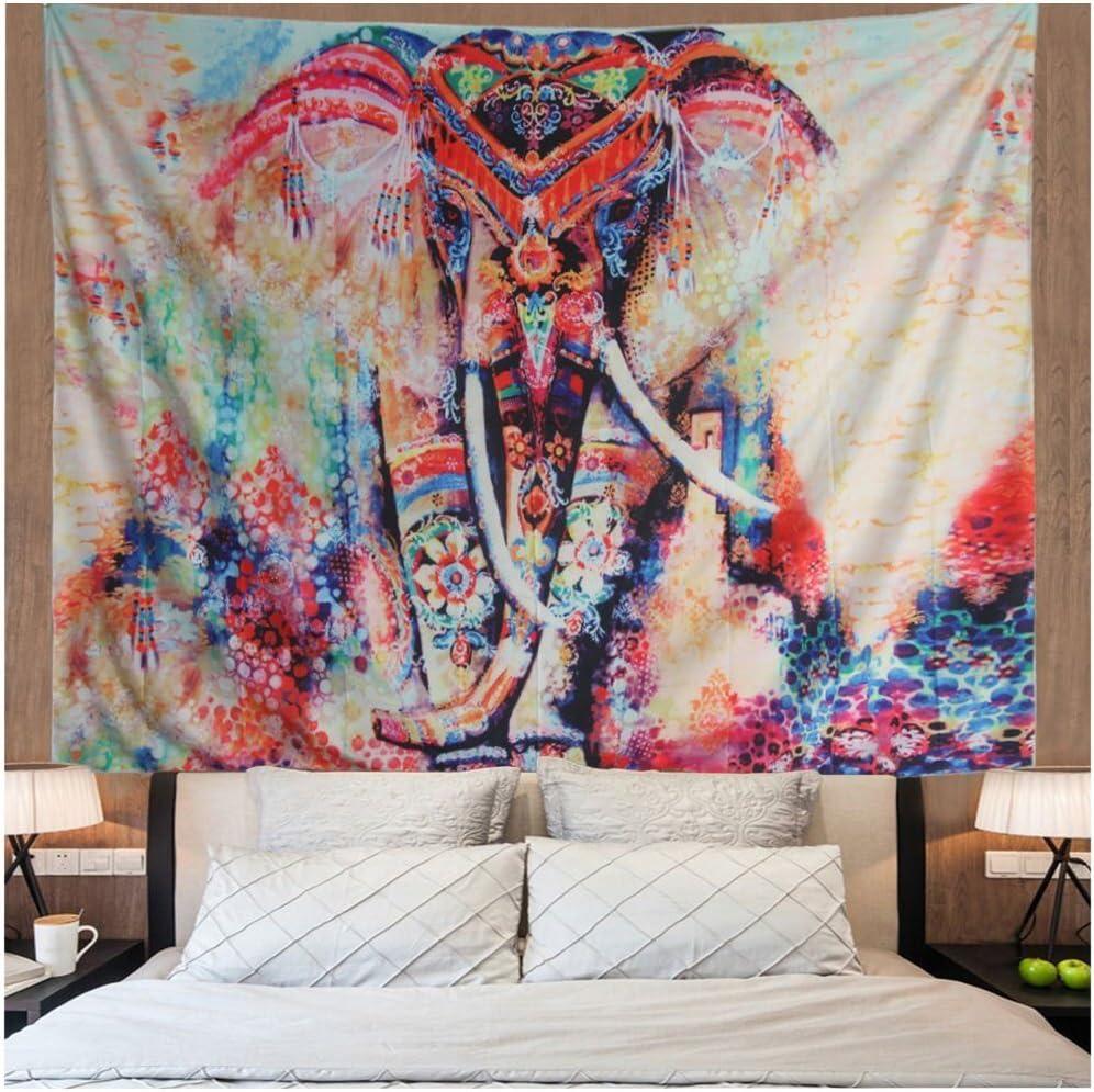 Amonercvita Watercolor Elephant Tapestry Wall Hanging Mandala Tapestry Bohemian Tapestry Psychedelic Wall Tapestry Flower Psychedelic Tapestry for Indian Dorm Decor