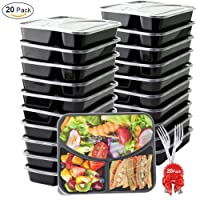 Deals on 20-Pack BASA Meal Prep Containers 3 Compartment