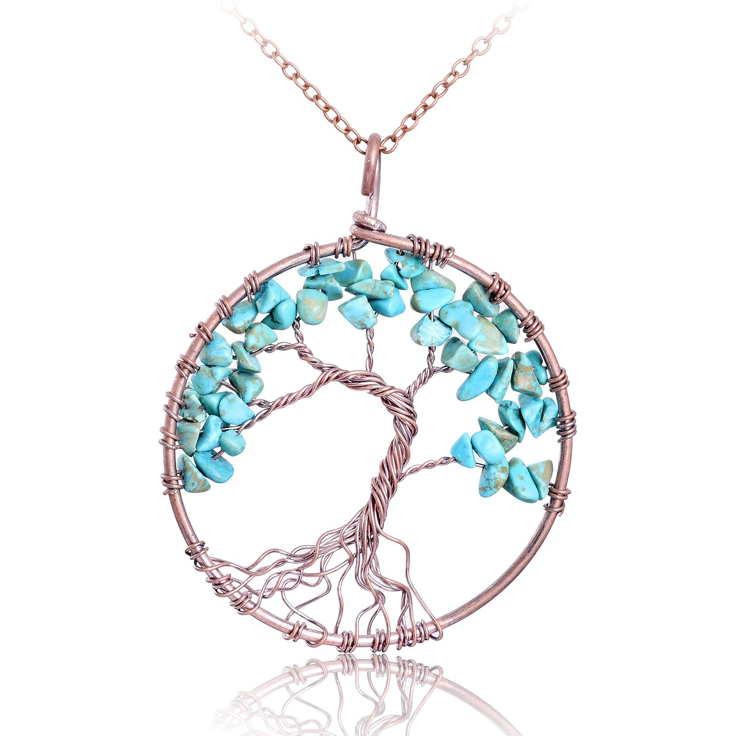 Handmade Nature Turquoise Tree of Life Necklace Copper Pendant ...