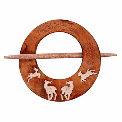 Purpledip Wooden Curtain Holder Tie Back Drape Clips Flying Deers: Set Of 2 (11148)