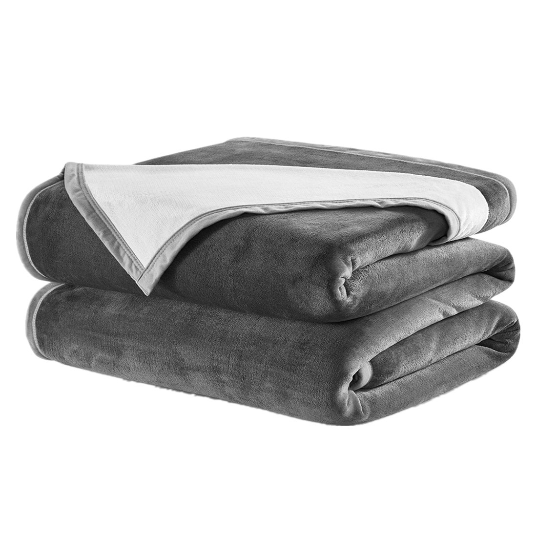 DREAMFLYLIFE King Fleece Blanket, Luxury Super Thick 460GSM Warm Blanket for Bed Home, Double Colors Blanket King Size 90×108 in,(Dark Grey&Ivory)