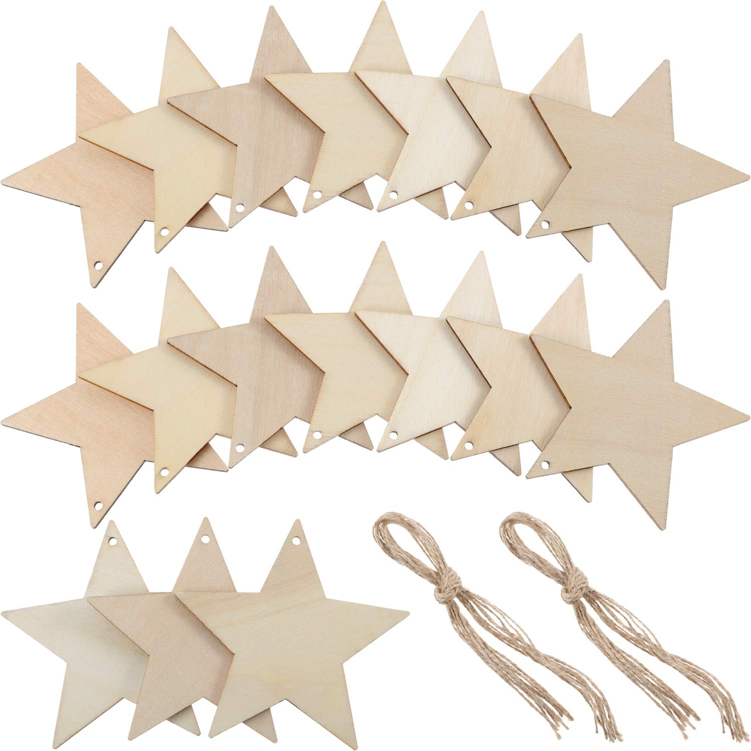 Tatuo 50 Pieces Wooden Star Cutouts Christmas Star Wooden Ornaments Hanging Ornaments with Ropes for Embellishments, Wedding, DIY, Craft, Festival