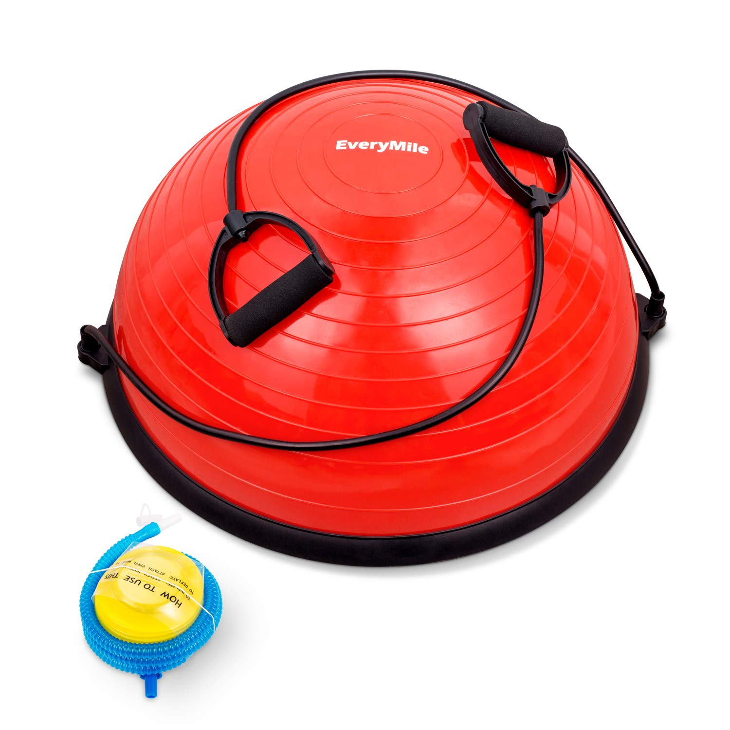 EveryMile Half Ball Balance Trainer Stability Yoga Exercise Ball with Resistance Bands & Pump for Home Gym Core Training Yoga Fitness Ab Strength Workouts, 23 inch Anti-Skid Surface (Red)