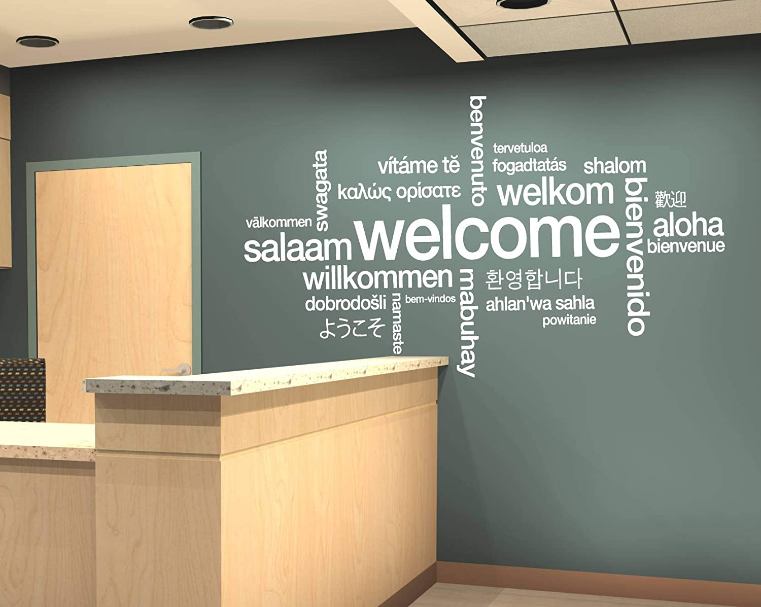 Welcome Sign Decal Welcome Wall Sticker Welcome In Many Languages Decor Welcome Design Wall Art Design All Languages Room Mural And Stick Wall Decals Home Kitchen
