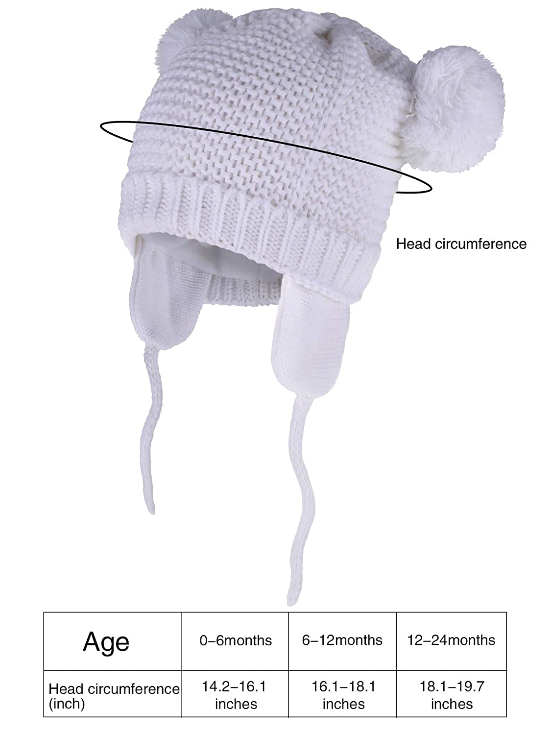 2 Pieces Baby Beanie Toddler Warm Knit Hats Fleece Lined Animals Shape Caps with Earflap for Boys and Girls Winter Supplies