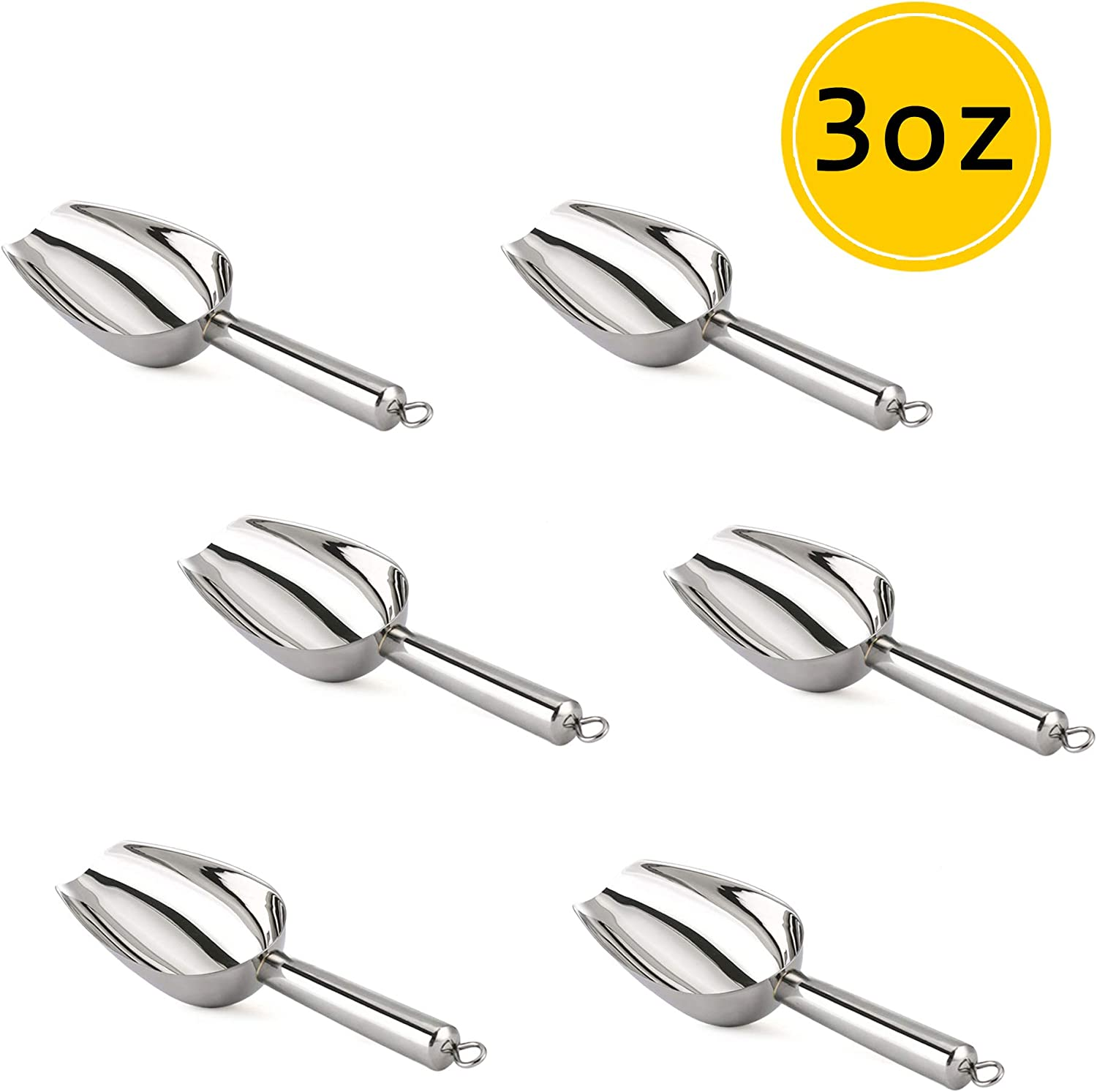 TeamFar Mini Scoop - 3 Oz, 6 PCS Canister Scoops Small Ice Candy Scoop Stainless Steel for Kitchen Dispenser Buffet Jars, Rust Free & Sturdy, Utility & Mirror Finish - Dishwasher Safe